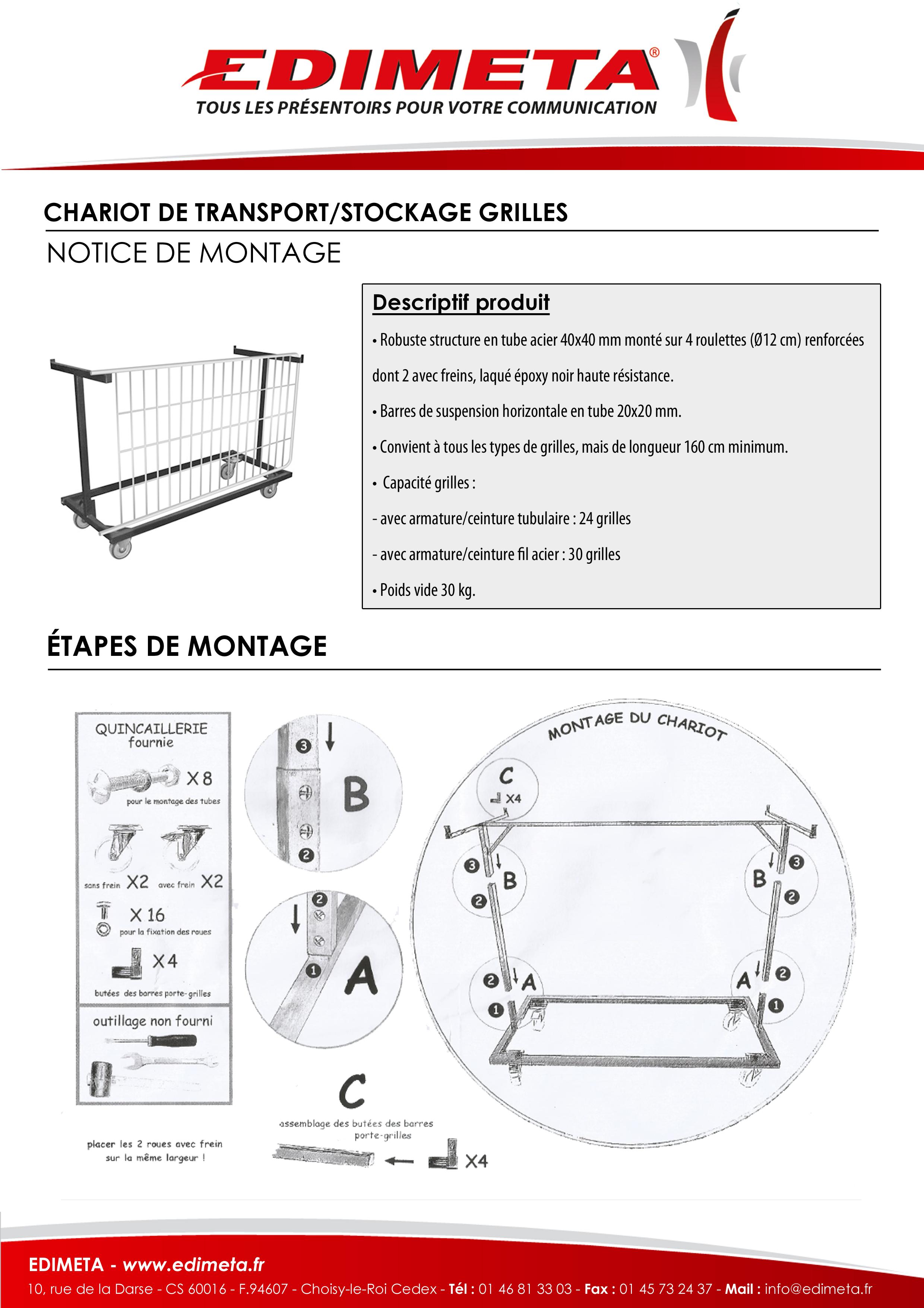 NOTICE DE MONTAGE : CHARIOT DE TRANSPORT/STOCKAGE GRILLES
