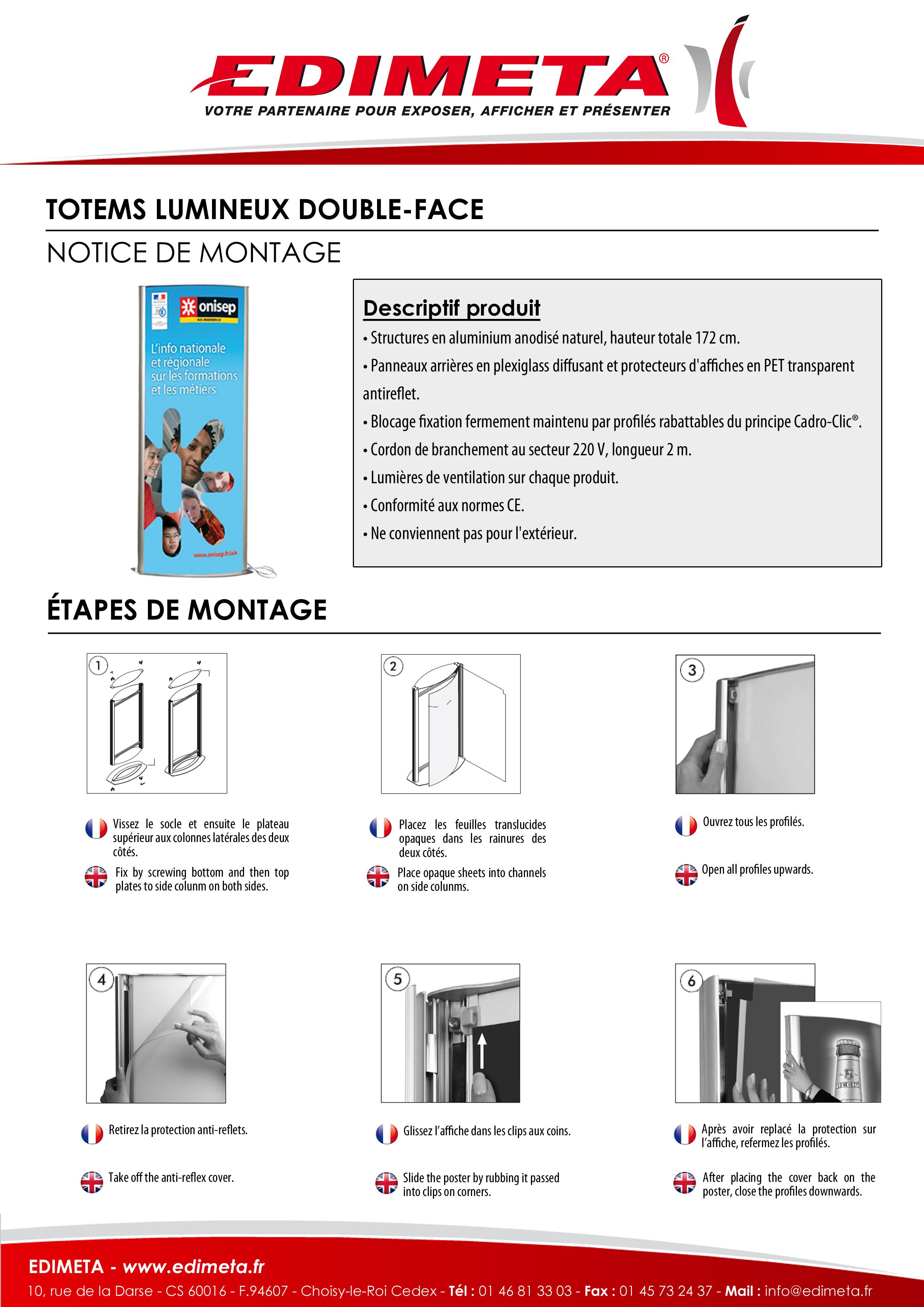 NOTICE DE MONTAGE : TOTEMS LUMINEUX DOUBLE-FACE