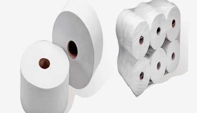 Papel higiénico industrial y doméstico de doble capa.  Disponible en varios formatos y longitudes.