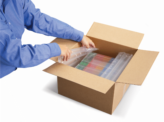 Les tubes d'air AirPouch intègrent notre système de perforations breveté EZ-Tear™ permettant de les séparer facilemen