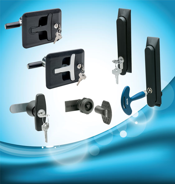 Elesa IP65 security products – locking T handles, Swing handles and quarter-turn locks