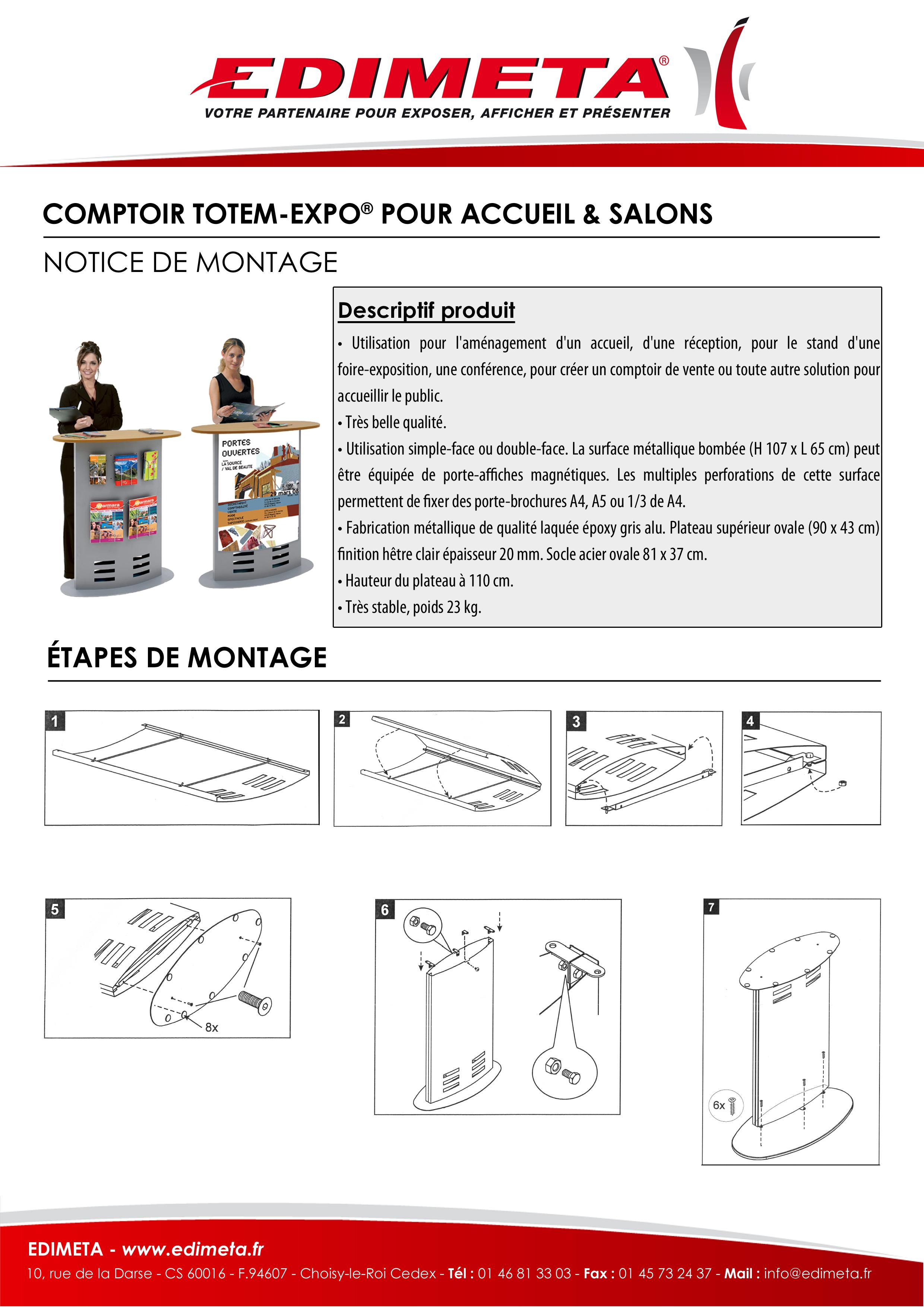 NOTICE DE MONTAGE : COMPTOIR TOTEM-EXPO® POUR ACCUEIL & SALONS