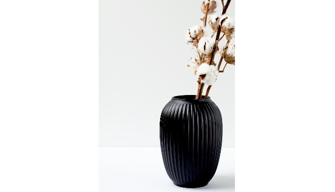 Black vase for beautiful flowers