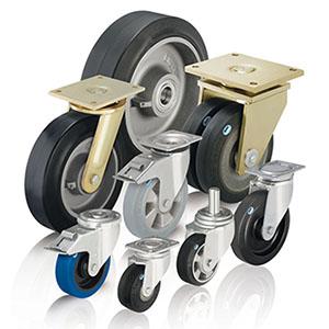 Für hohe Lasten eignen sich besonders Schwerlastrollen und Schwerlasträder mit hochelastischen Gummirädern. Bei sehr hoh
