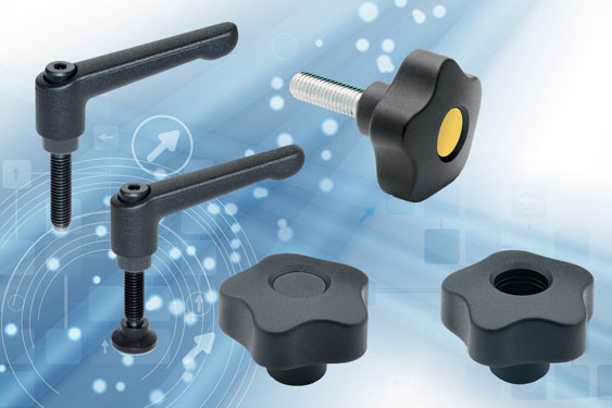 "Elesa clamping lever handles and knobs include UL ""V0"""
