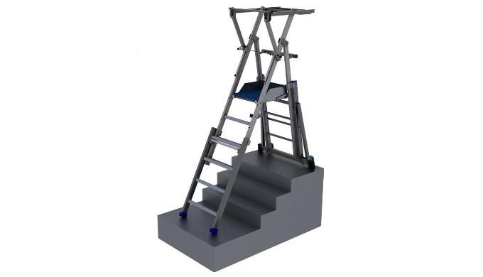 Plates-formes individuelles roulantes pliantes et télescopiques en aluminium : Hauteur réglable Travail en escalier Larg