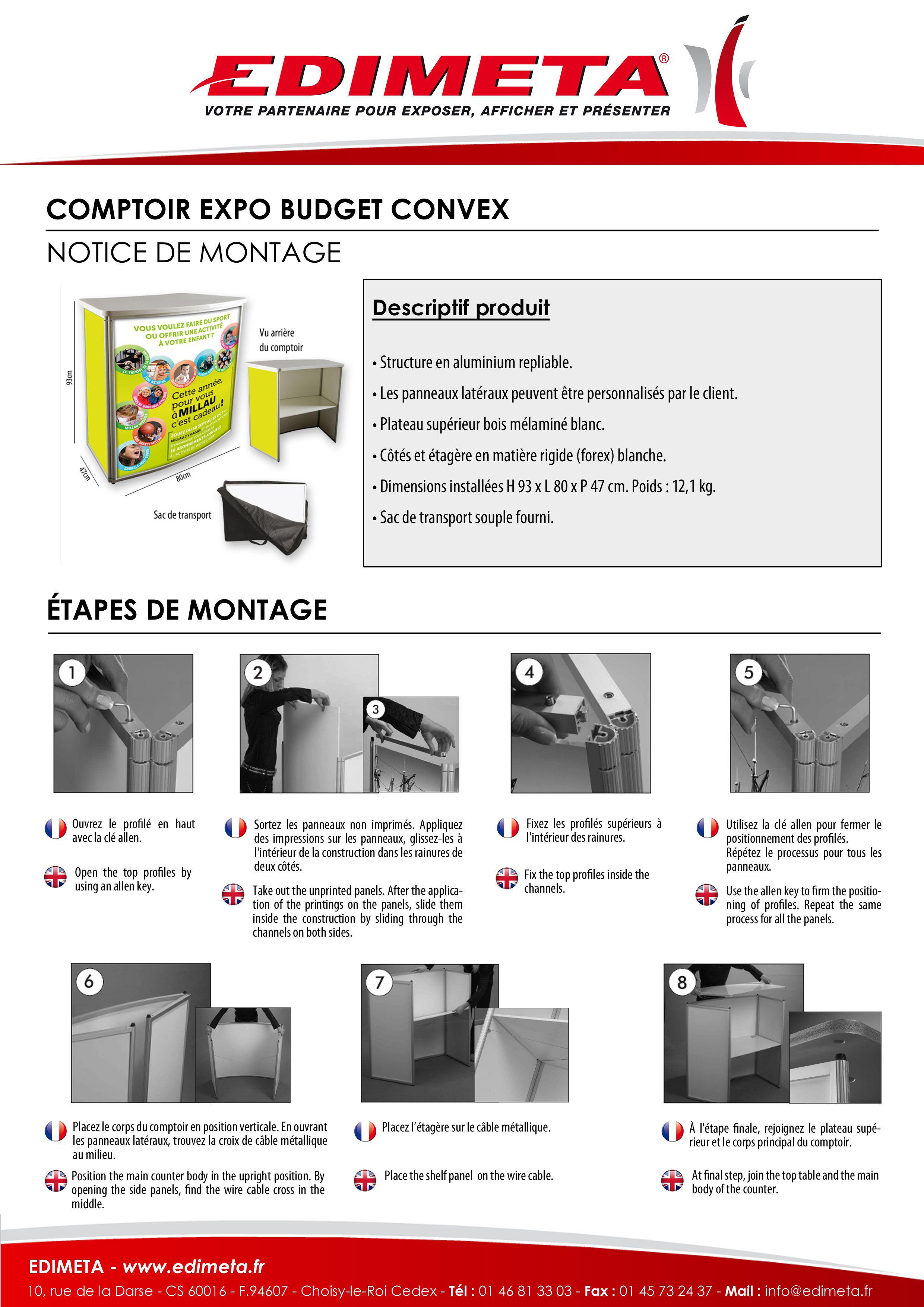 NOTICE DE MONTAGE : COMPTOIR EXPO BUDGET CONVEX