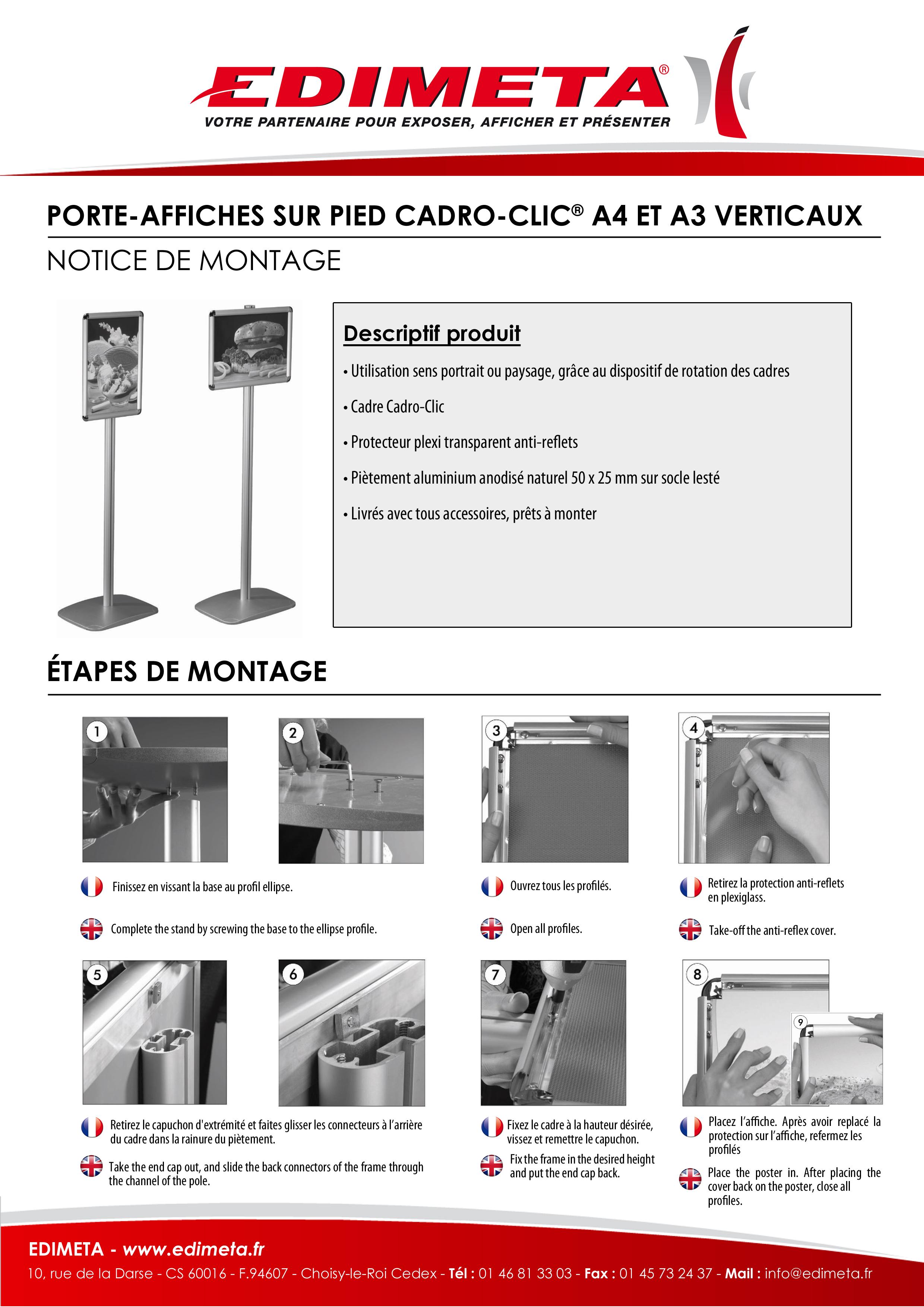 NOTICE DE MONTAGE : PORTE-AFFICHES SUR PIED CADRO-CLIC® A4 ET A3 VERTICAUX