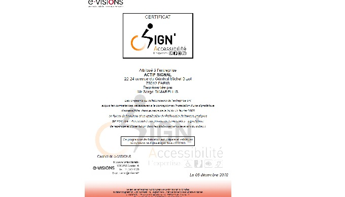Actif Signal obtient le label Sign Accessibilité L'expertise.