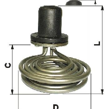 RESISTENCIA TUBULAR INMERSION CABEZAL TIPO COPA CON ROSCA INTERIOR 1/2 GAS.  .  Especialmente diseñado para el calent