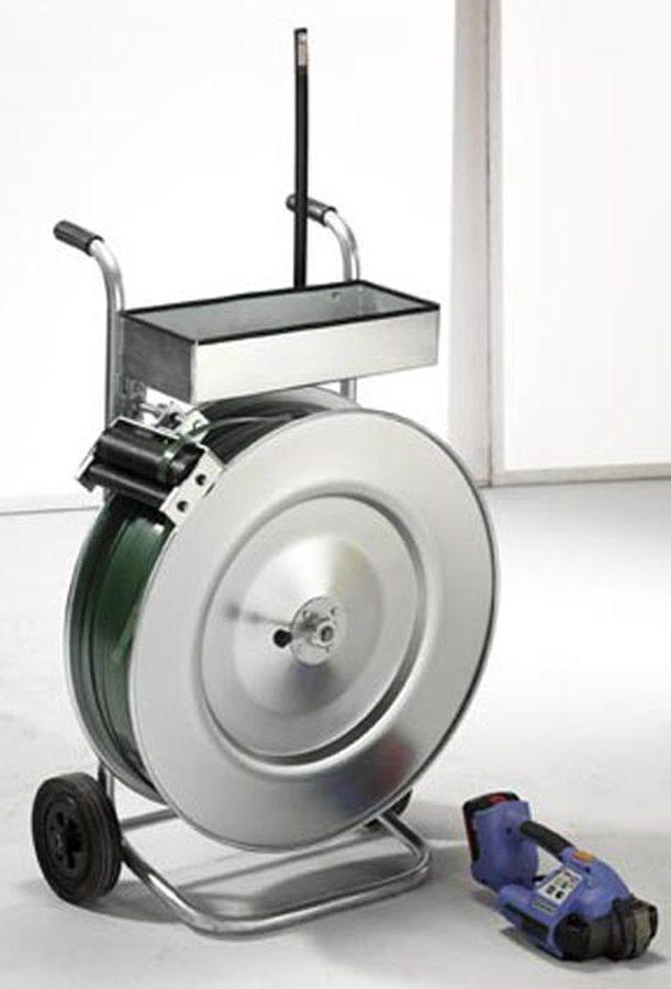 bestehend aus Bandabroller, Profi-Akku-Spann- und Verschlussgerät, PET-Band Mit vollautomatischem Akku-Spann- und Versch