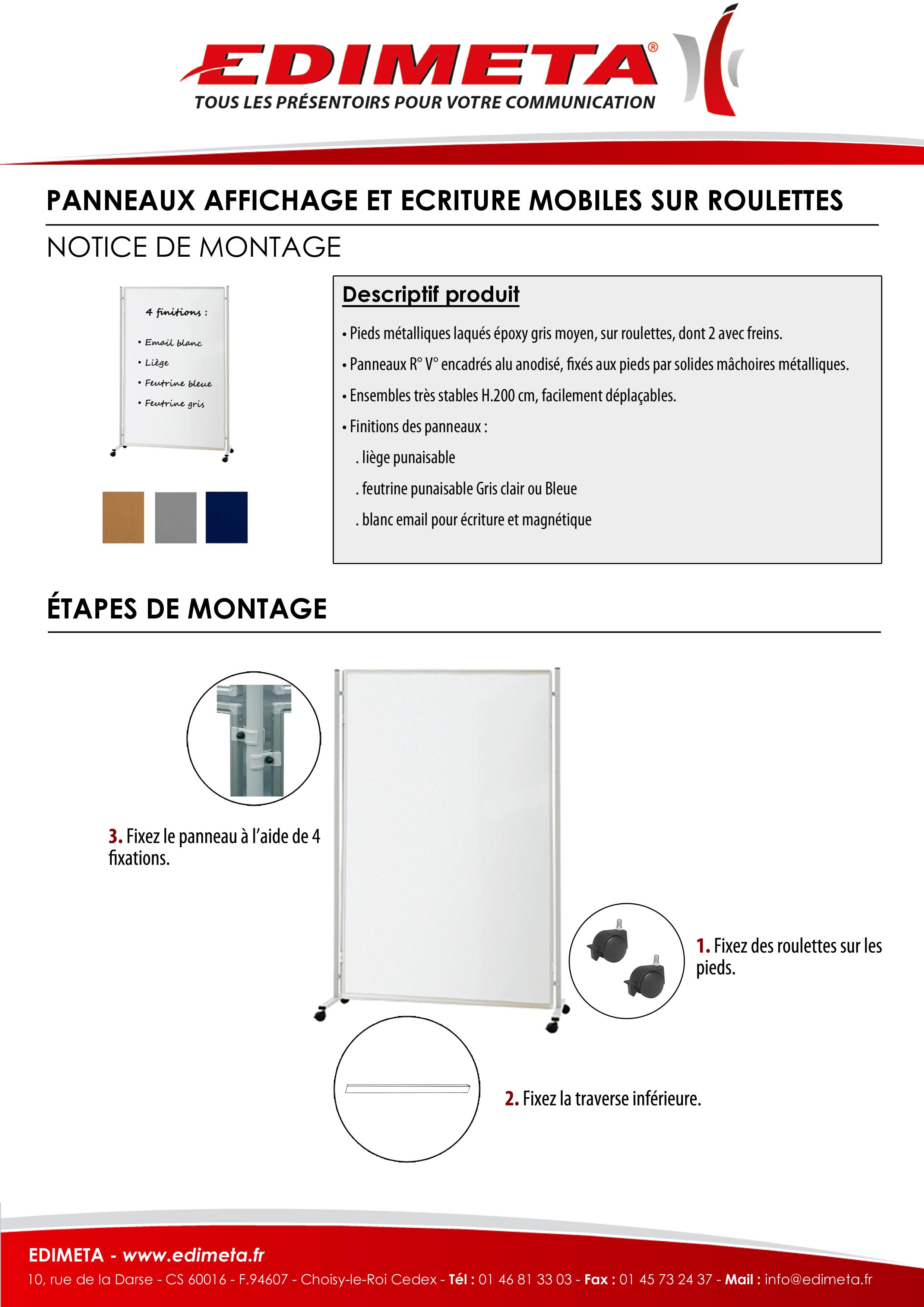 NOTICE DE MONTAGE : PANNEAUX AFFICHAGE ET ECRITURE MOBILES SUR ROULETTES