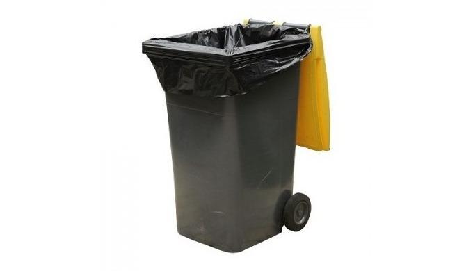 Housses pour containers 360L, en polyéthylène basse densité. Rouleaux prédécoupés avec liens de fermeture. Housses conçu