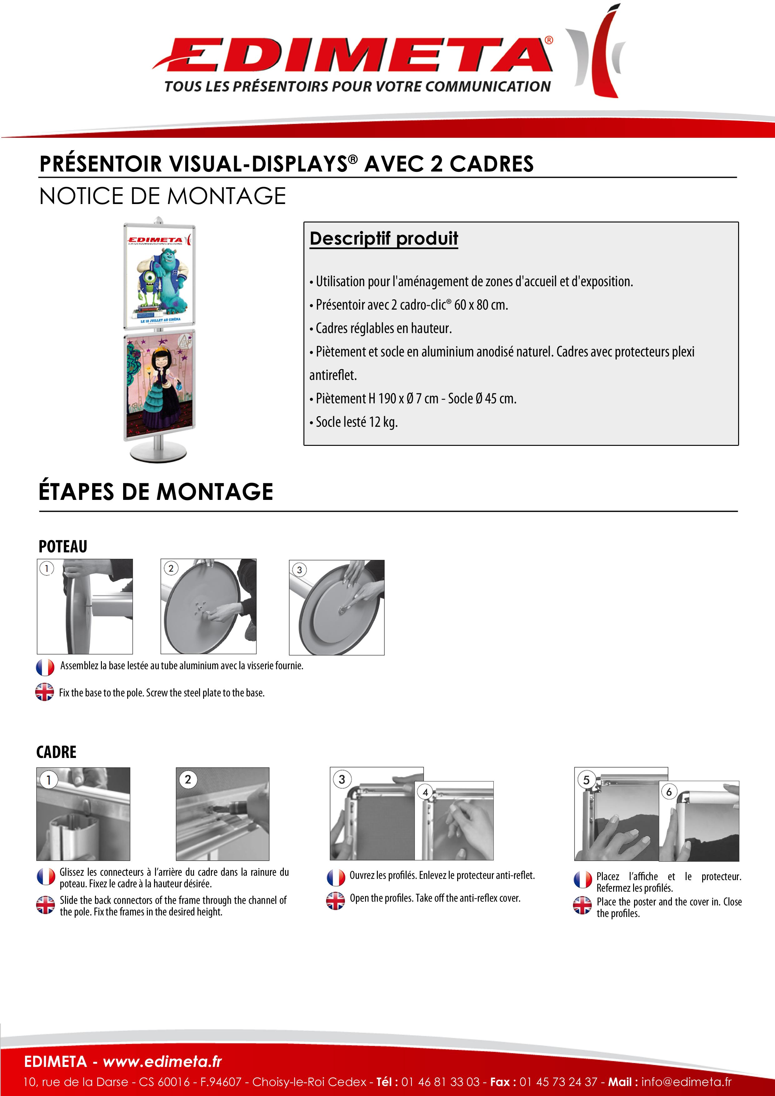 NOTICE DE MONTAGE : PRÉSENTOIR VISUAL-DISPLAYS® AVEC 2 CADRES