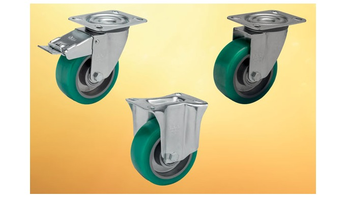 Continuously moving loads will benefit from these soft polyurethane wheeled castors from Elesa as their 75 Shore A mould
