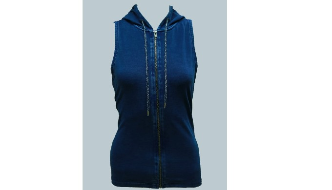 Hoodie with Sleeve/Sleevless, Full open Zipper, 85% Cotton, 15% Poly, Fabric: Denim, 200 - 240 GSM, 5 Sizes Available,