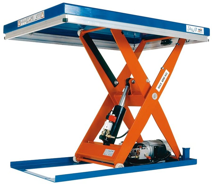 Tragfähigkeit 1000 kgKompakt-Hubtische sind frei aufstell- oder einbaubar, sodass die Plattform bündig mit dem Boden ist