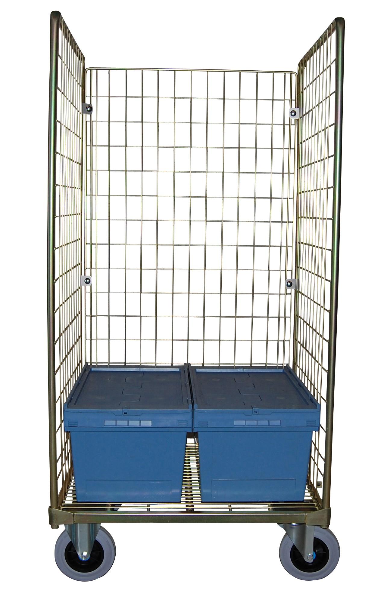 CHARIOT ROLL CAISSE Utilisation: Pour transporter vos bacs norme ISO Roues: 2 fixes, 2 pivotantes Description: 1 socle f