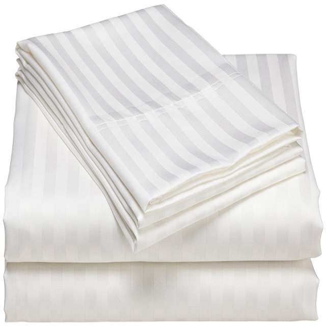 Plain & Stripe Sateen 100% Cotton Satin White Fabric For Hotel Bedding and Bed Sheet Sets
