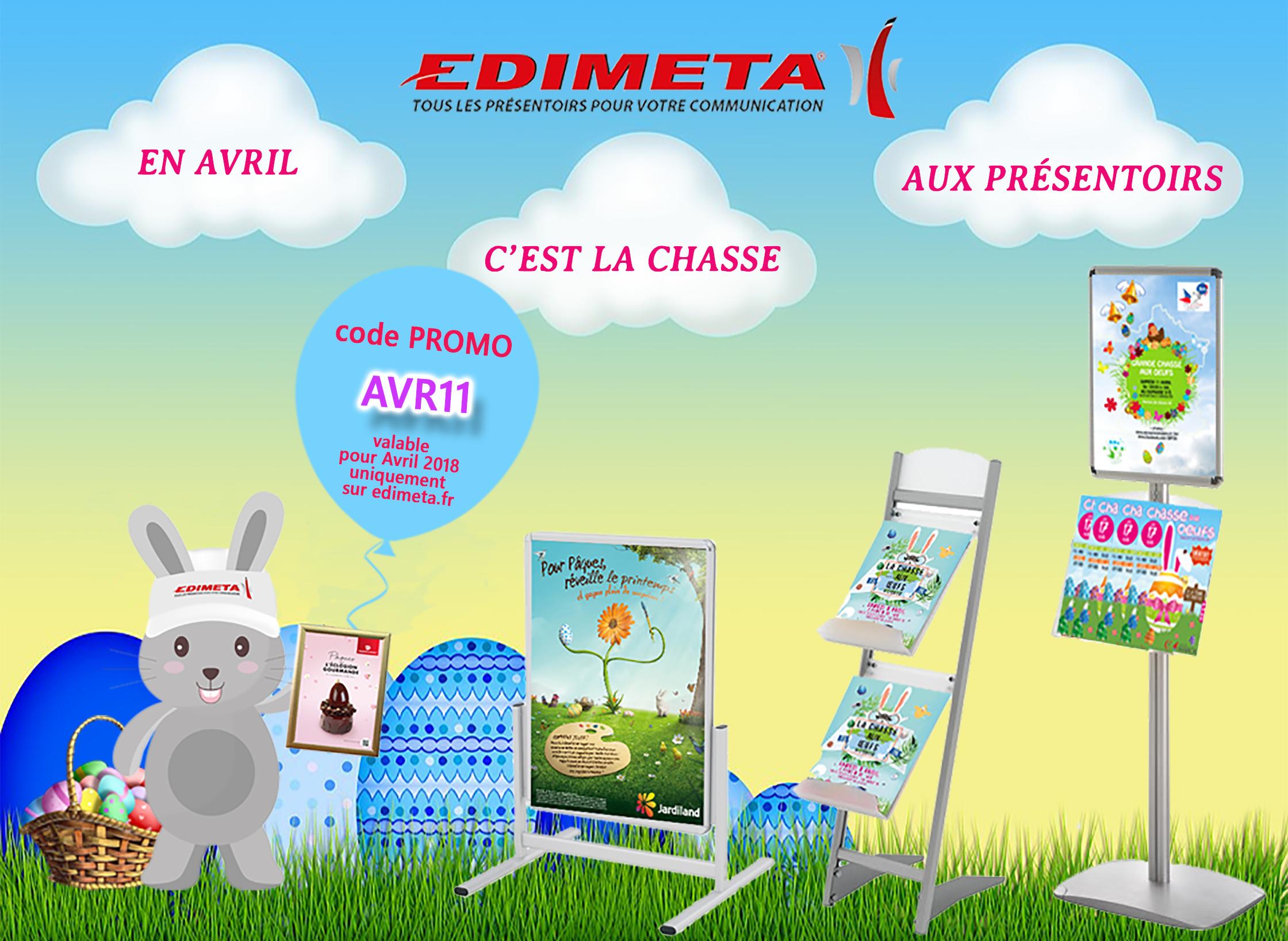 En avril EDIMETA vous invite à sa grande chasse aux présentoirs