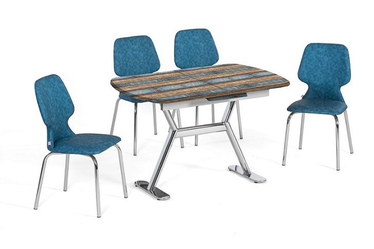EN 944 Antique Blue Dining Set