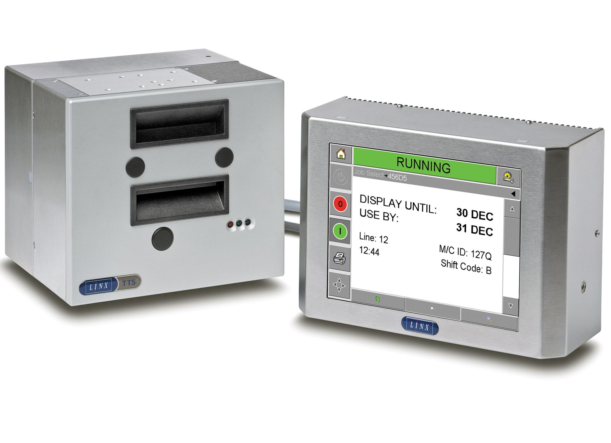 Para codificar sobre embalaje de película flexible, etiquetas o tarjetas satinadas, la serie TT de Linx de impresoras de