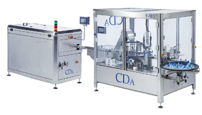 Conçue par la société CDA, la E-fill S est une chaîne de conditionnement automatique complète, c'est donc une remplisseu