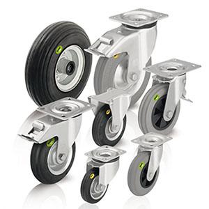 Vollgummirollen und Weichgummirollen für höchsten Fahrkomfort bei schlechten Bodenverhältnissen. Die Vollgummiräder und