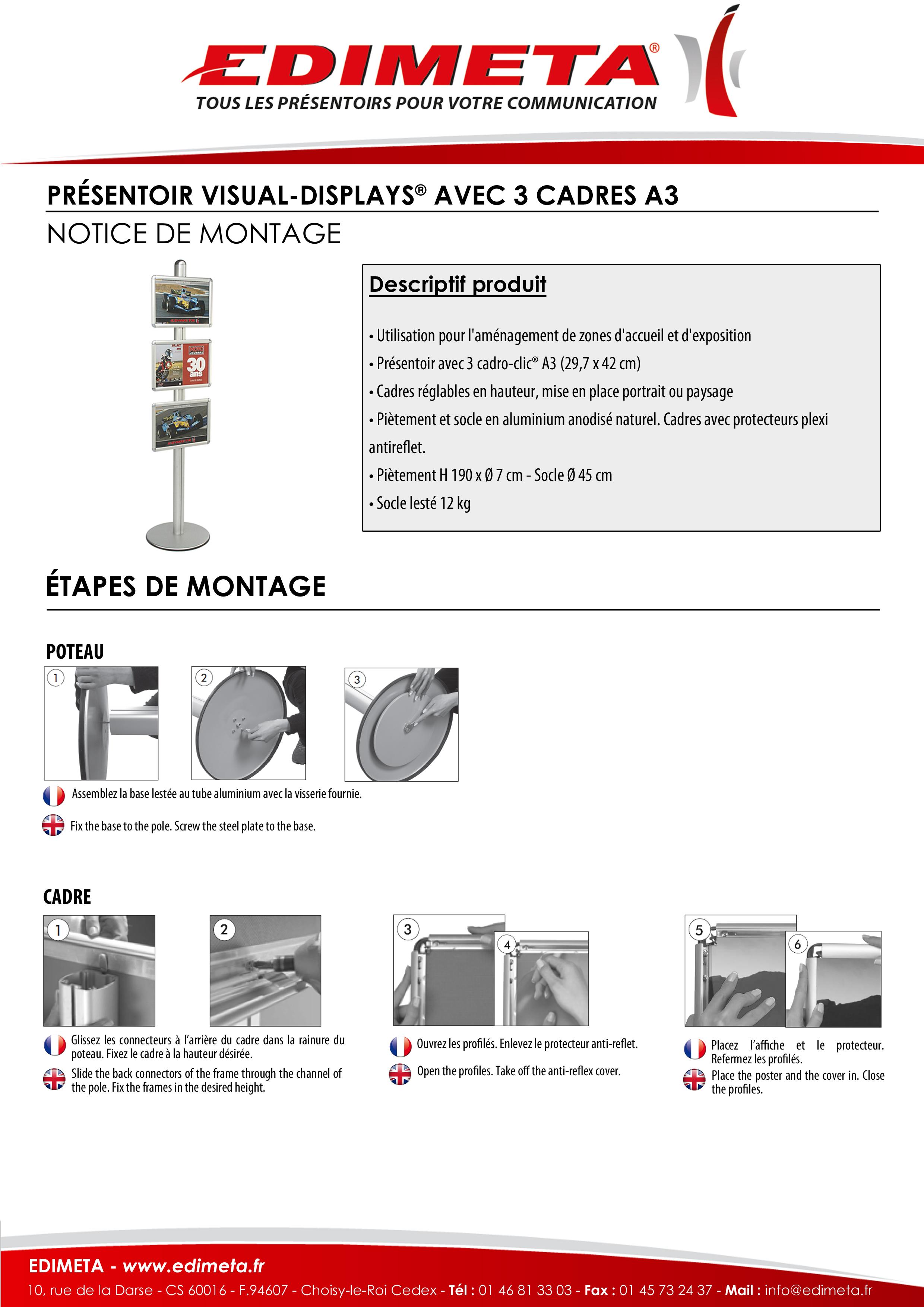 NOTICE DE MONTAGE : PRÉSENTOIR VISUAL-DISPLAYS® AVEC 3 CADRES A3