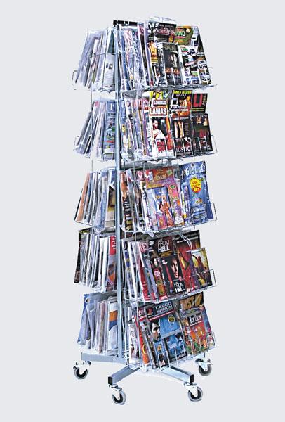 Utilisation en médiathèque ou magasin pour le rangement et la présentation des magazines avec CD, DVD, vidéos, jeux Arma