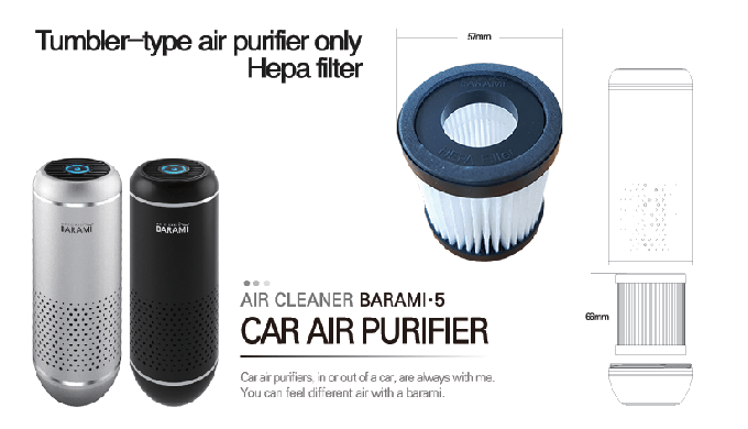 Heparfilter for vehicle air purifier Use of 3M Hepha 13 or higher fabric Tumbler-type air purifier only