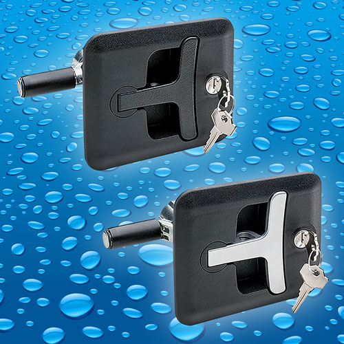 The CSMH from Elesa is a flush mounting compression latch with pop-out T bar handle that offers IP65 protection from dus