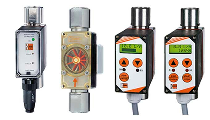 Mess- / Schaltbereich: 0,08 - 0,5 l/min ... 40 - 160 l/min Wasser Anschluss: G ⅛ ... G 1&frac12&#x3b;, Flansch DN15 ... DN50,