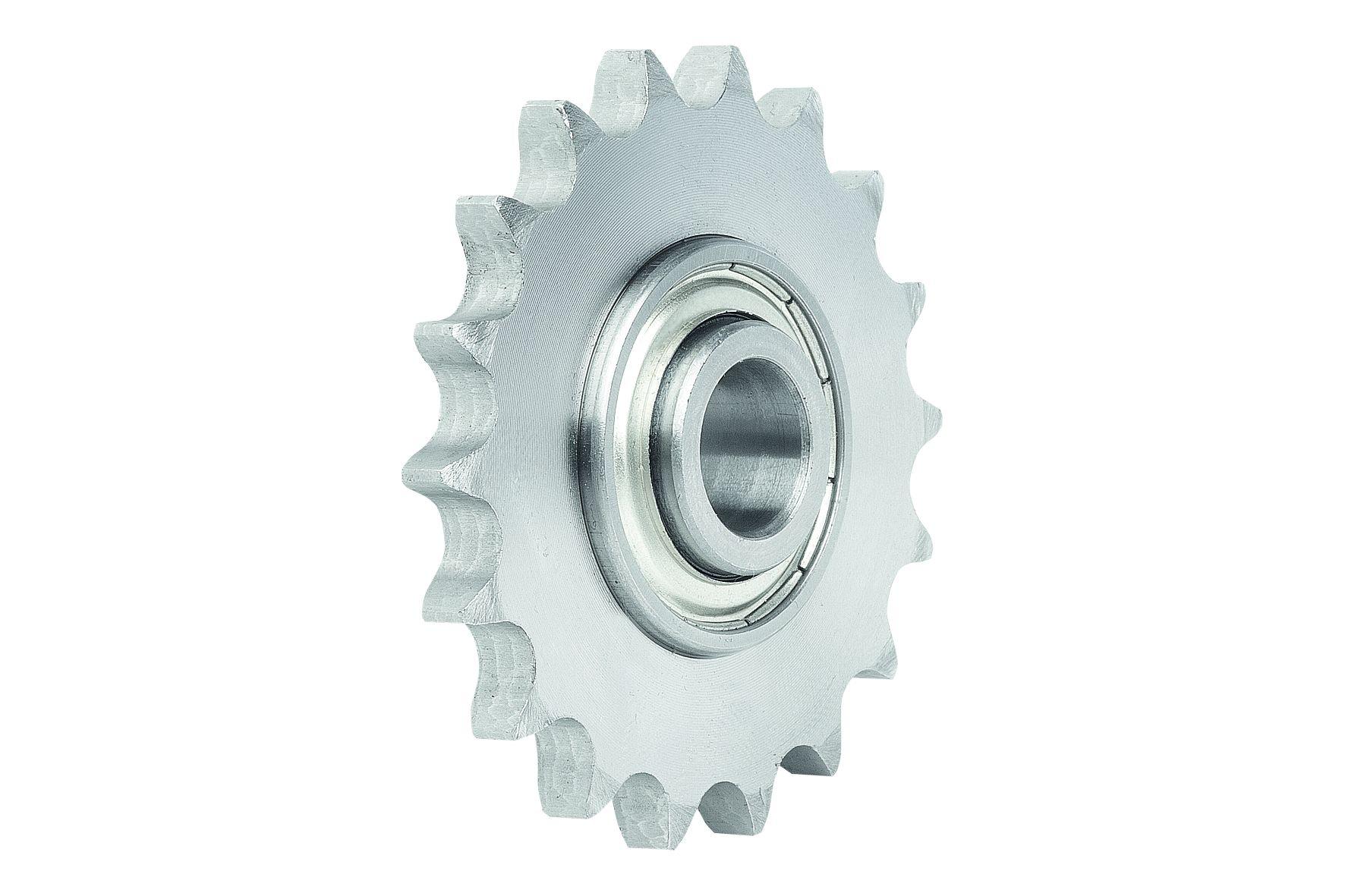Werkstoff: Kettenrad Stahl C45. Kugellager aus Wälzlagerstahl. Ausführung: Kettenrad brüniert. Hinweis: Einbaufertige Ke