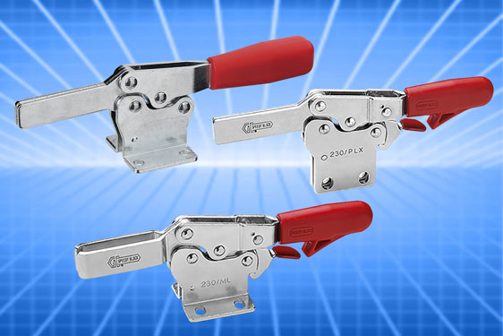 Elesa's MO series horizontal toggle clamps feature the MOAS and MOBS stainless steel designs with in-built safety latch