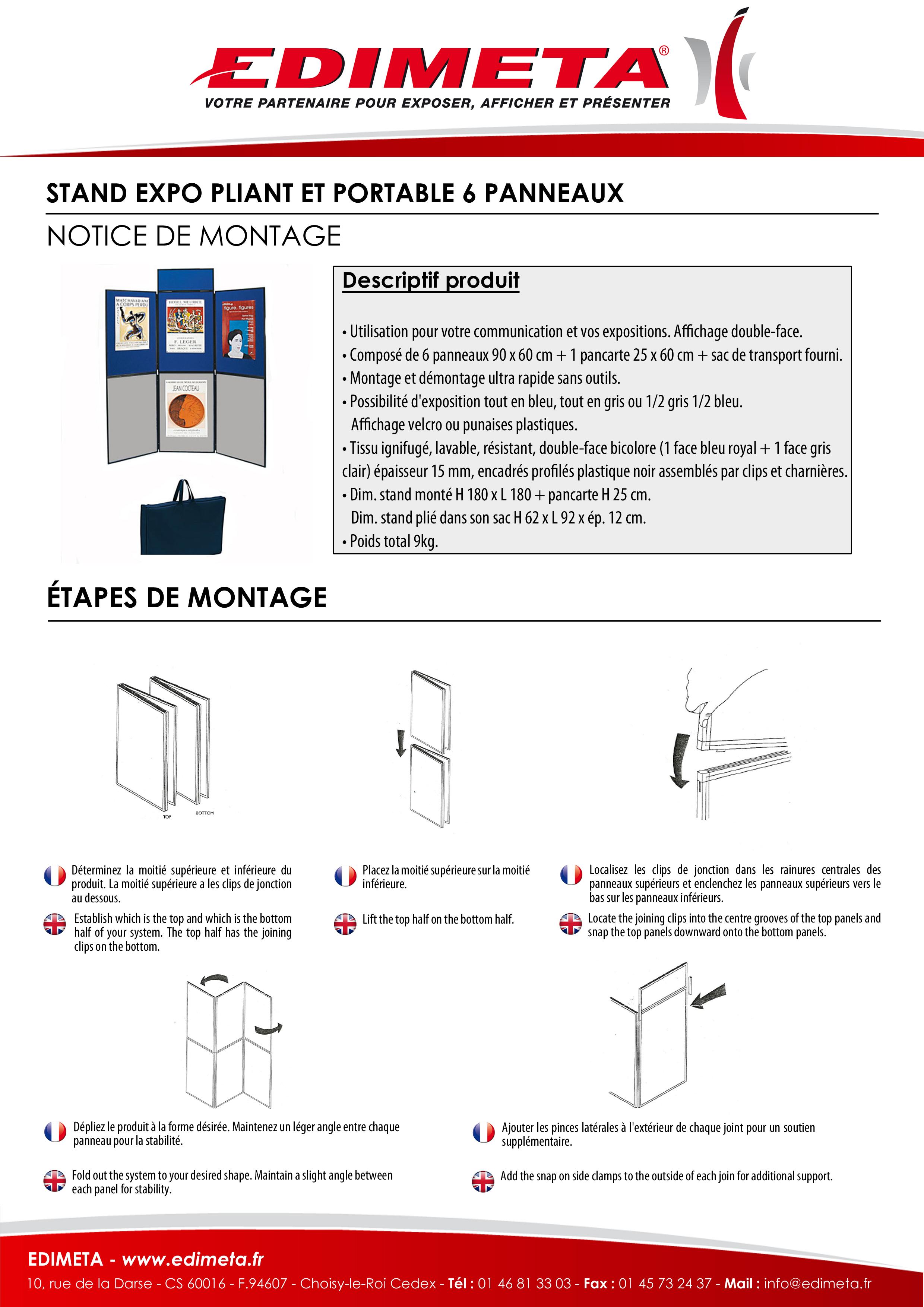 NOTICE DE MONTAGE : STAND EXPO PLIANT ET PORTABLE 6 PANNEAUX