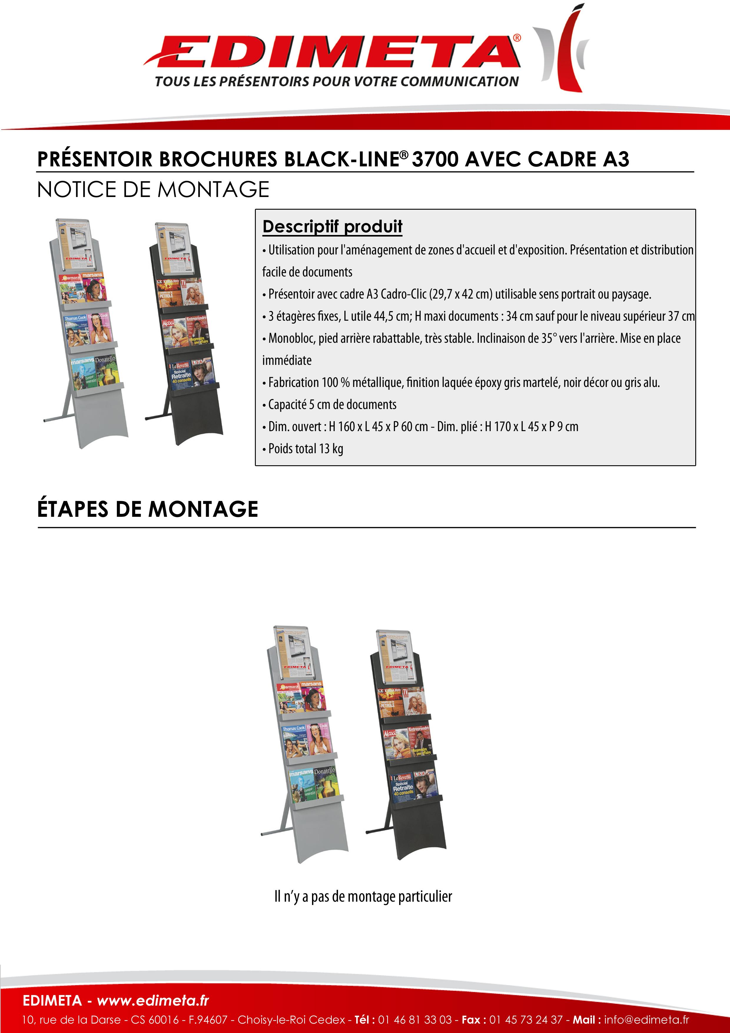 NOTICE DE MONTAGE : PRÉSENTOIR BROCHURES BLACK-LINE® 3700 AVEC CADRE A3