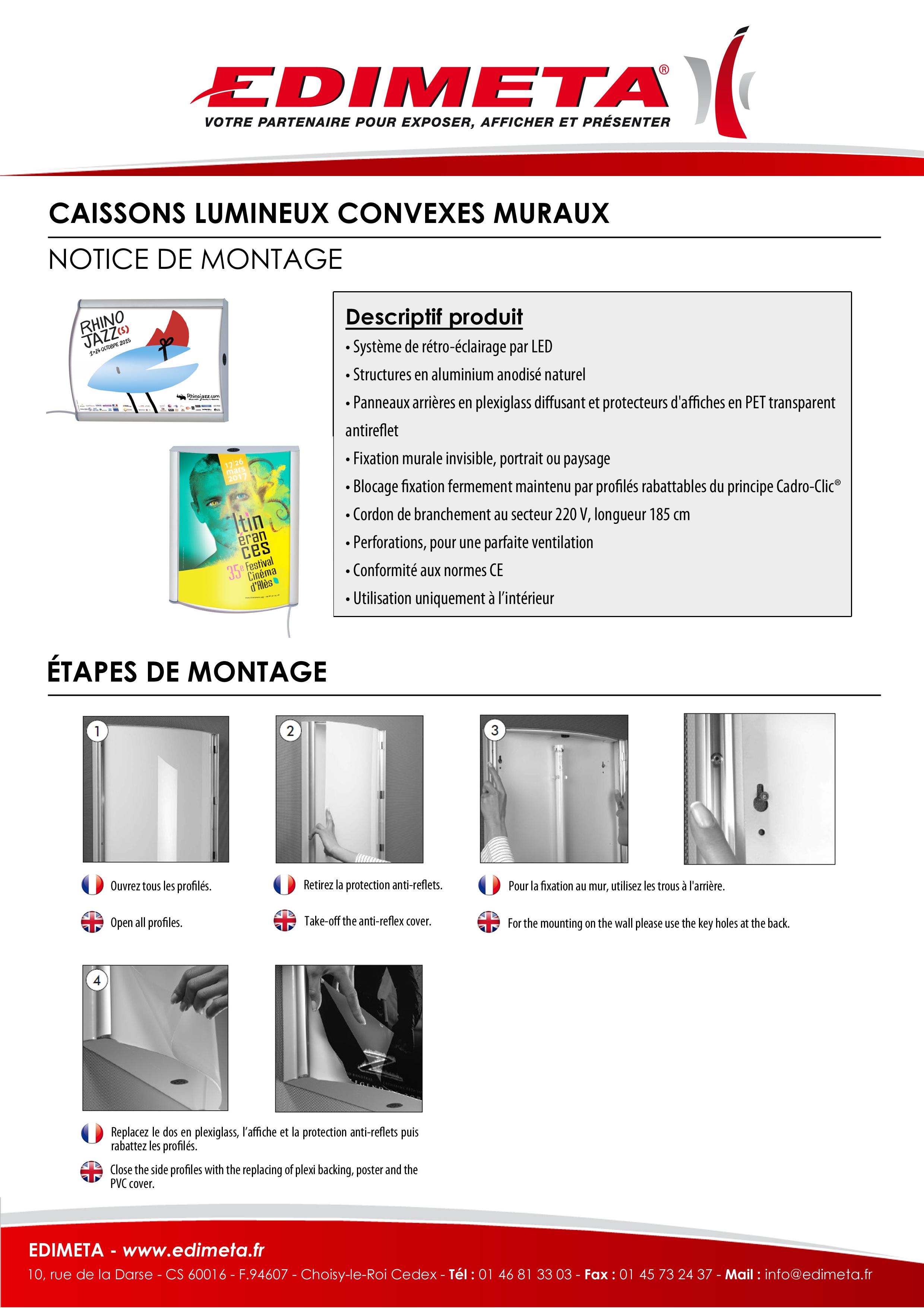 NOTICE DE MONTAGE : CAISSONS LUMINEUX CONVEXES MURAUX
