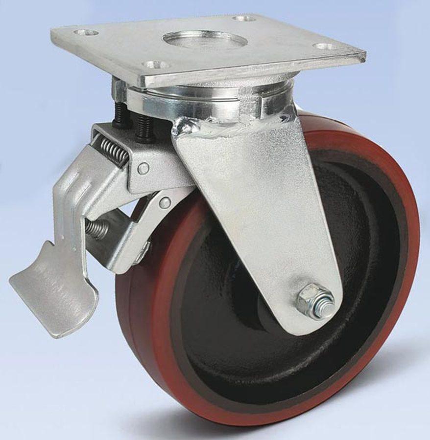 Rad-Ø x Breite 200 x 50 mm, Plattenmass 138x110 mmGehäuse in schwerer Stahlschweißkonstruktion, verzinkt. Lenkrollen mit