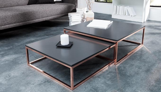 Table basse design Pamela cuivre et anthracite