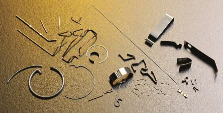 Uhrenfedern, Form- und Biegeteile