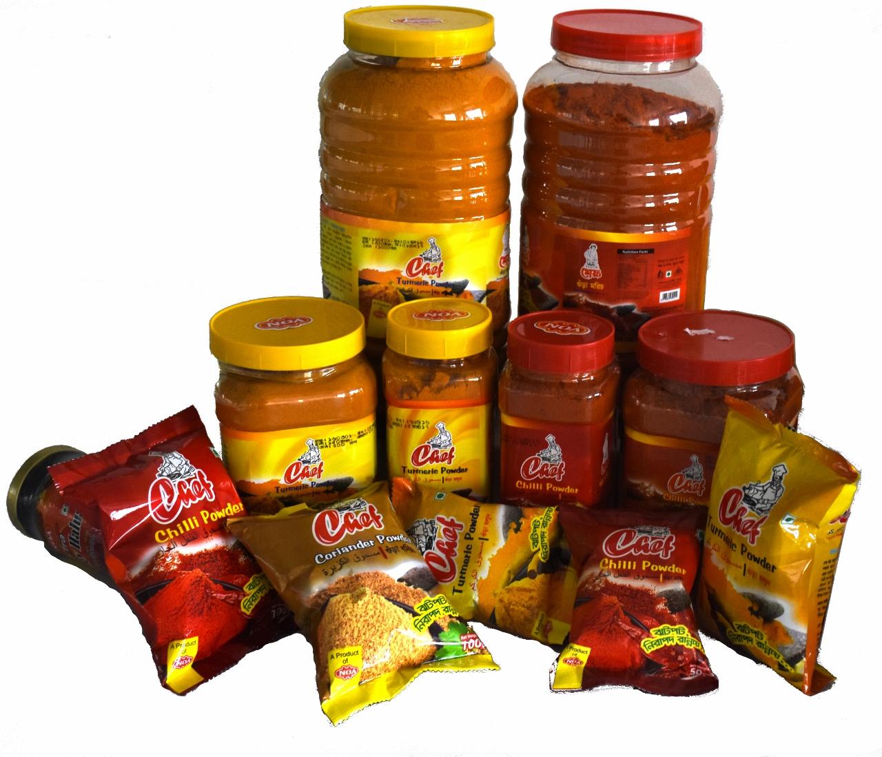 Chef Spice: Chilli Powder, Turmeric Powder,Coriander Powder