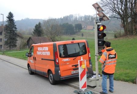 Safenwil-Kanton Aargau- Baustellenampeln jüngster Generation