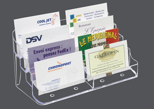 Utilisation de comptoir pour le rangement et la présentation de cartes de visites Cristal transparent injecté Capacité 1