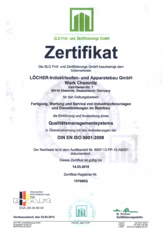 Qualität zählt: Zertifiziert nach DIN EN ISO 9001:2008