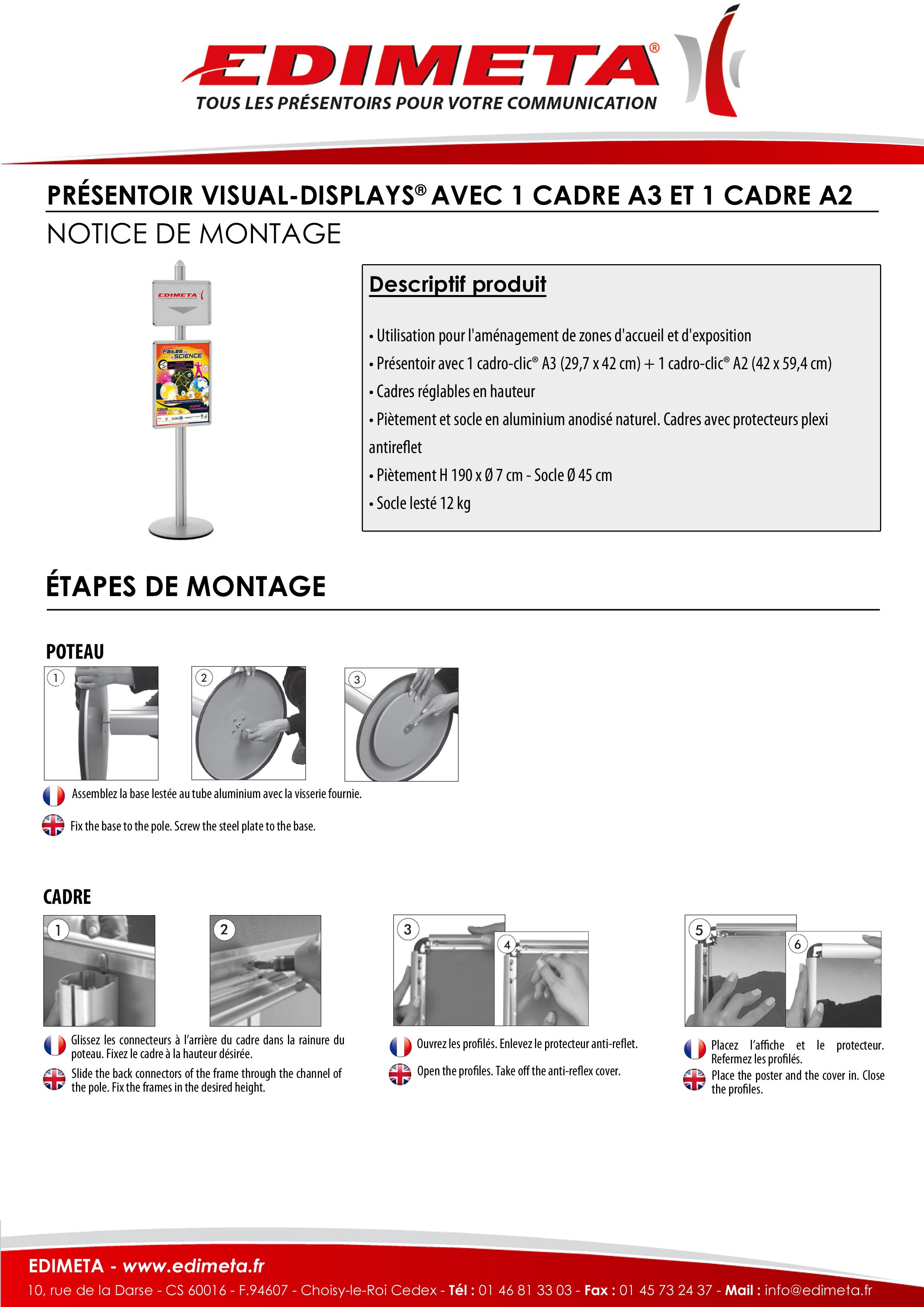 NOTICE DE MONTAGE : PRÉSENTOIR VISUAL-DISPLAYS® AVEC 1 CADRE A3 ET 1 CADRE A2