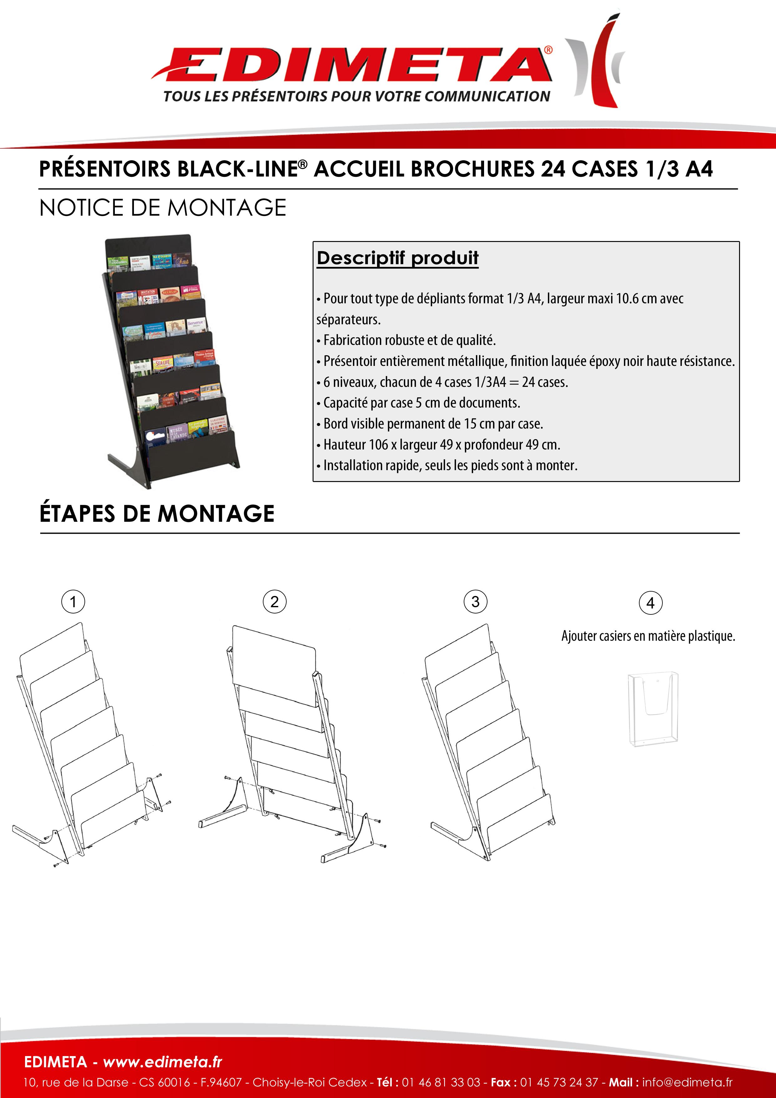 NOTICE DE MONTAGE : PRÉSENTOIRS BLACK-LINE® ACCUEIL BROCHURES 24 CASES 1/3 A4