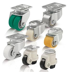 Kompaktrollen für sehr niedrige Bauhöhen und Heberollen für einfaches Anheben kleiner Transportgeräte bis hin zum Verfah
