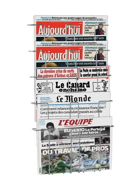 Pour tous journaux, magazines, documents, produits divers de largeur maxi 42,5 cm ou A3 5 cases en escalier, largeur uti