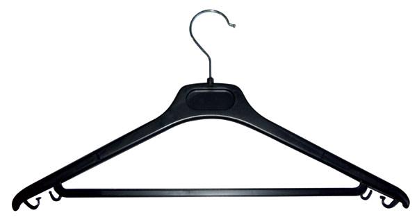 Pour stocker les vêtements de visiteurs à l'accueil ou pour un événement Plastique noir Barre largeur 45 cm Crochet méta